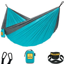 Wise Owl Outfitters Hammock for Camping Single & Double Hammocks Gear for The Outdoors Backpacking Survival or Travel - Portable Lightweight Parachute Nylon SO Lt Blue & Grey