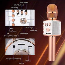 BONAOK Wireless Bluetooth Karaoke Microphone,3-in-1 Portable Handheld Karaoke Mic Speaker Machine Christmas Birthday Home Party for Android/iPhone/PC or All Smartphone(Q37 Rose Gold)