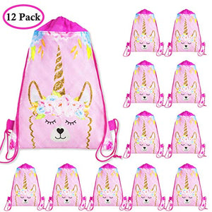 ShameOnJane Llama Unicorn Party Favor Bag - Gift Bags for Kids Drawstring 12 Piece Backpack Set for Kids Birthday Party Supplies and Llama Birthday Party Supplies - Sleepover Party Favors and Llama Goodie Bags