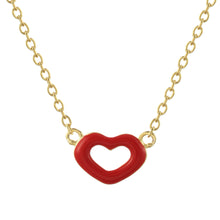 June Red Enamel Heart Necklace