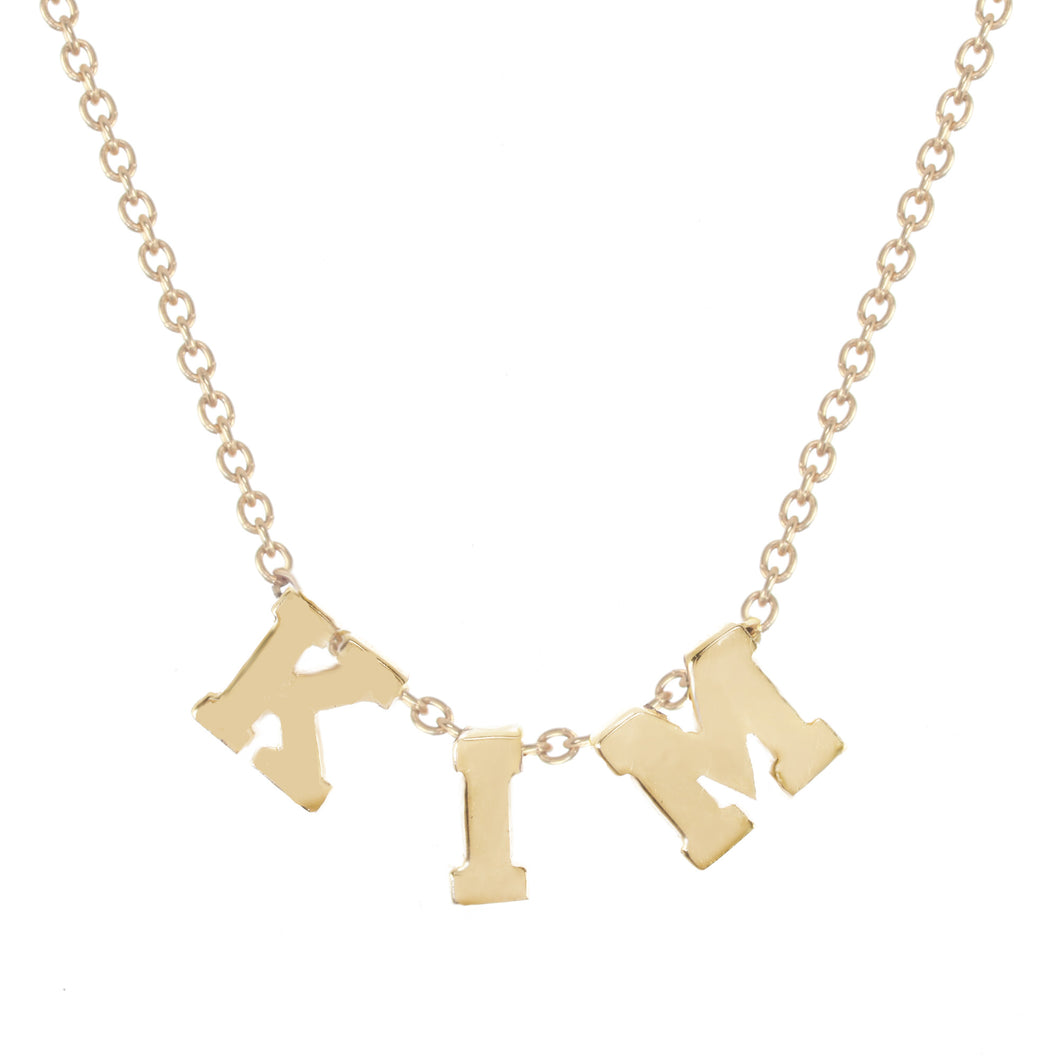 College font personalized necklace