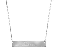 silver love bar necklace