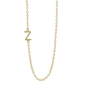 gold letter sideways necklace