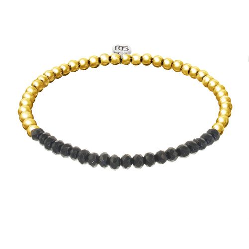 black agate and gold beaded bracelets