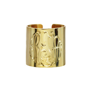Gold Monogram Cuff Ring