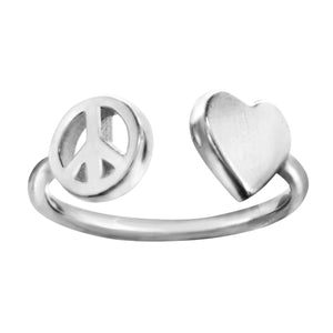 Sterling silver heart peace ring