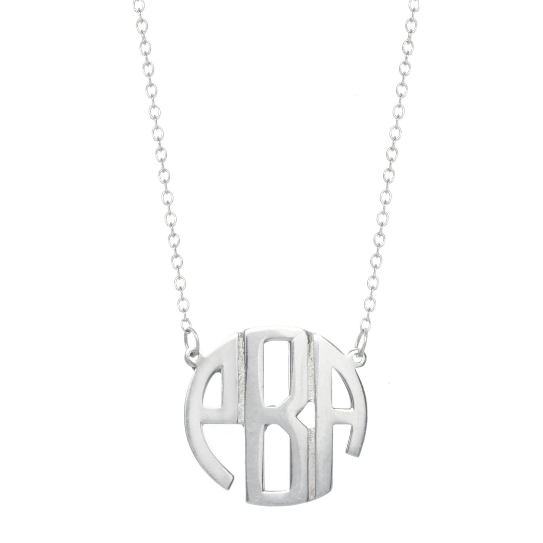 Silver Block Monogram Necklace