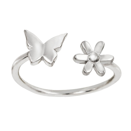 Sterling silver flower butterfly ring