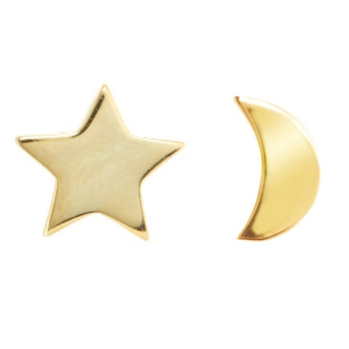 Gold star and moon earrings