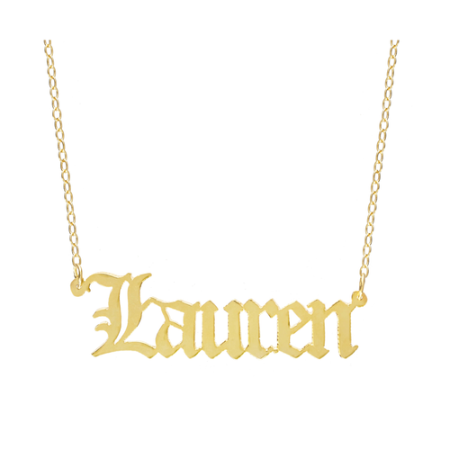 gothic font name necklace