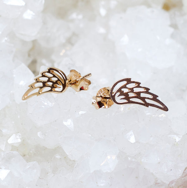 Gold Plated Wing Ear Studs