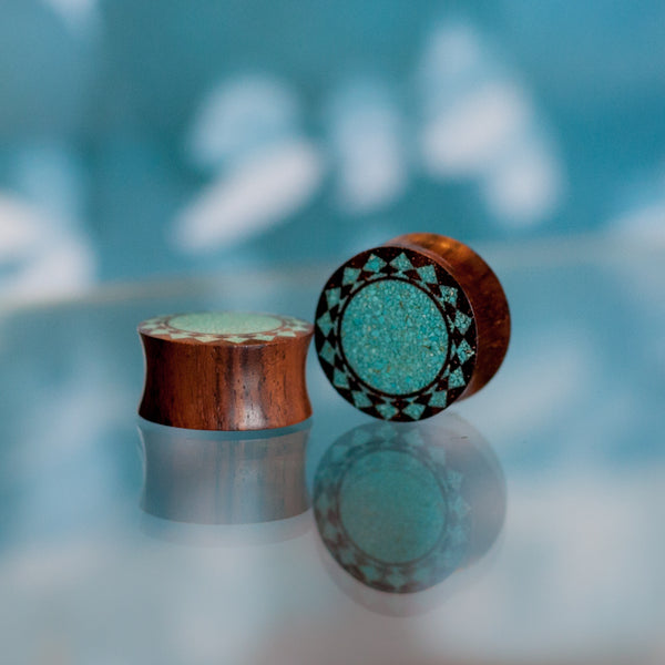 Wood and Turquoise Sun Ear Plug
