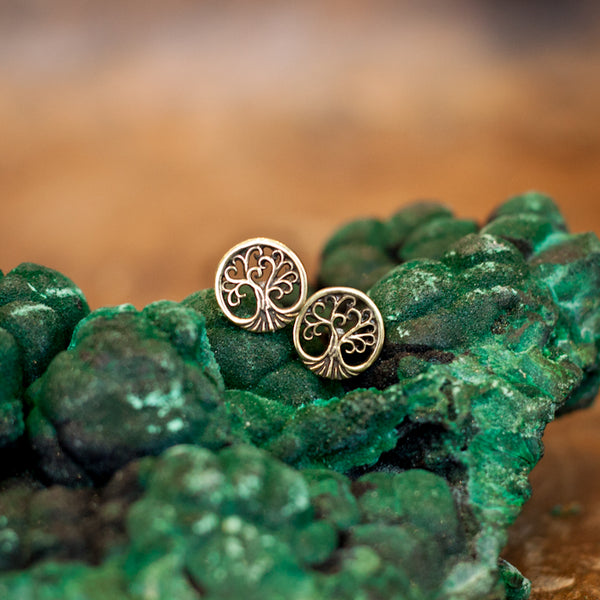 Tree Of Life Brass Studs Earrings