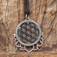 Flower of Life with Lotus Petals Brass Pendant