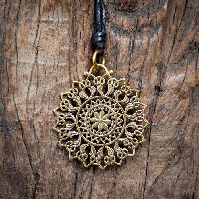 Brass Flower Pendant Necklace