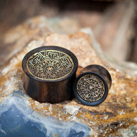 Tamarind wood and Engraved Brass Ear Plug