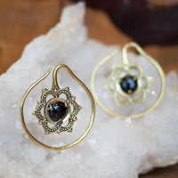 Brass Mandala Flower and Onyx Earrings