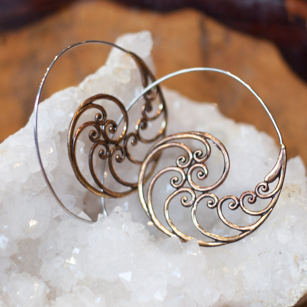 Delicate Copper Spiral Earrings