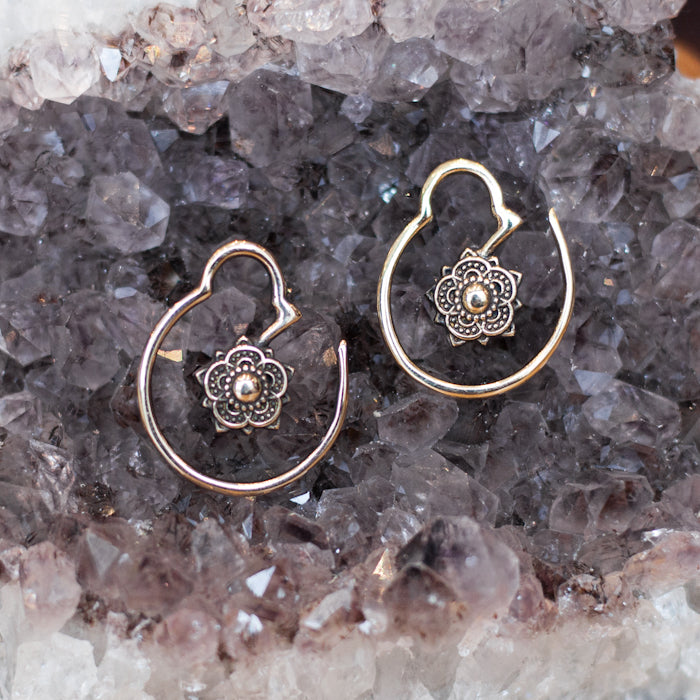 Lotus Flower Brass Hoop Earrings
