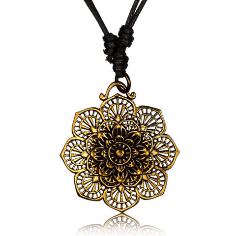 Intricate Brass Flower Pendant - Tribu