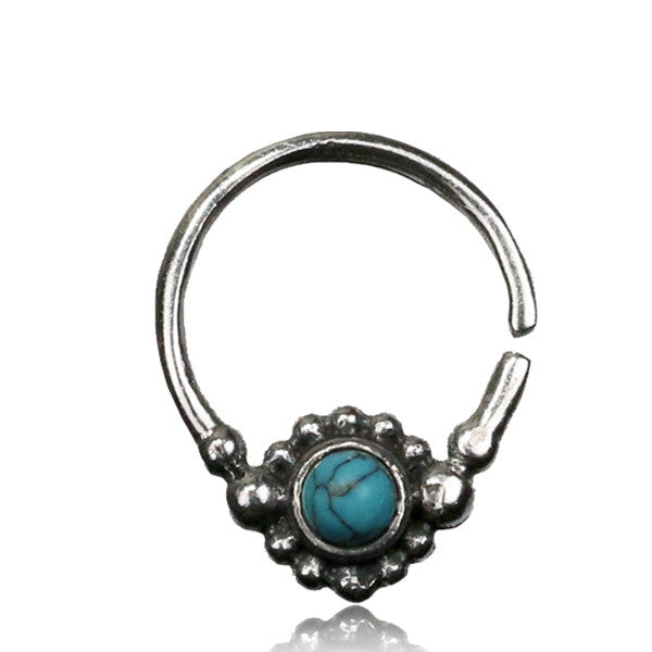 Nitya Silver Septum with Turquoise.Tragus/Helix/Cartilage/Nose Ring
