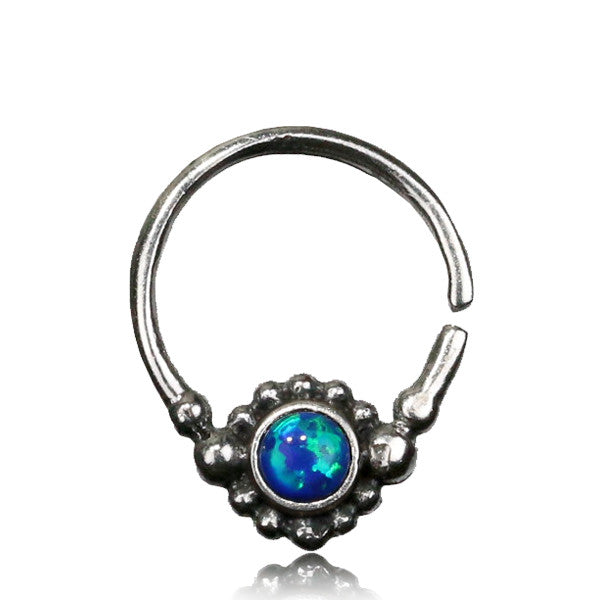 Nitya Silver Septum with Opal.Tragus/Helix/Cartilage/Nose Ring