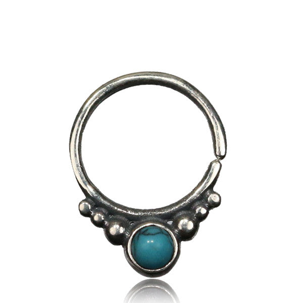Gita Silver Septum with Turquoise.Tragus/Helix/Cartilage/Nose Ring - Tribu