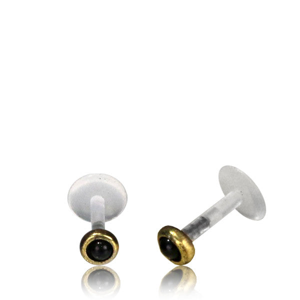 Brass Labret/Tragus Stud with semi precious stone