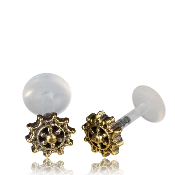 Brass Intricate Labret/Tragus Stud