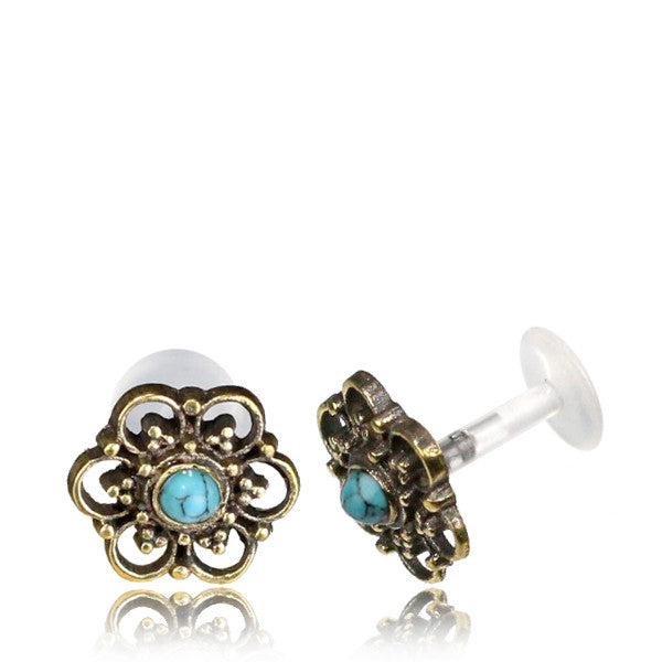 Brass Flower Labret or Tragus with Turquoise