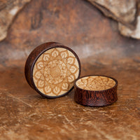 Tamarind and Crocodile Wood Mandala Ear Plug