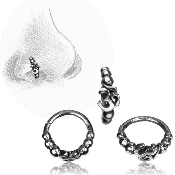 Om Silver Nose Ring
