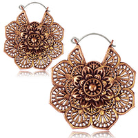 Intricate Flower Mandala  Copper Hoop Earrings