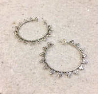 Sterling Silver Hoop Earrings with Dots Decoration