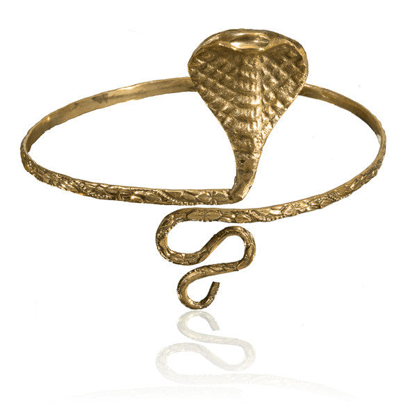 Brass Snake Armlet with Swirling Tail - Tribu