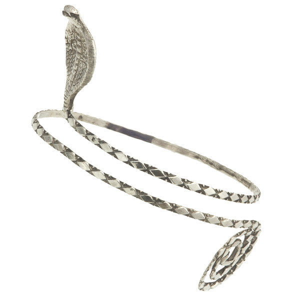 Cobra Silver Coated Brass Armlet - Tribu  - 1