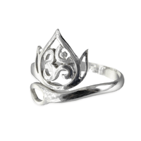 Adjustable Om Lotus Silver Ring