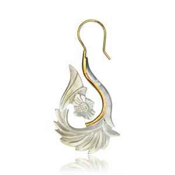 Alaya Brass Earrings with Mother of Pearl Shell