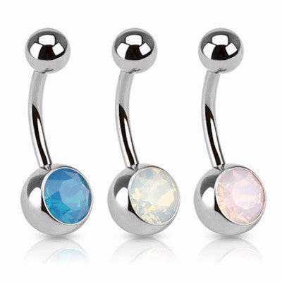 Stainless Steel Belly Bar with Opal