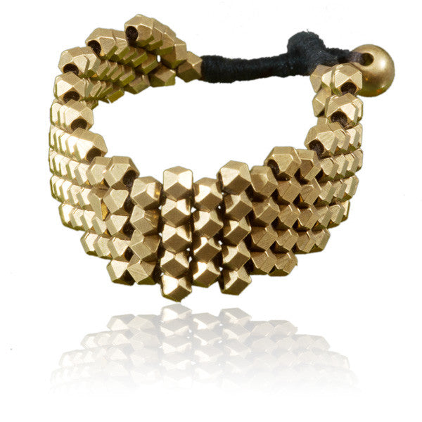 Brass Diamond Shaped Beads Bracelet - Tribu  - 1