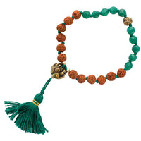 Stone Bracelet with Rudraksha and Green Agate