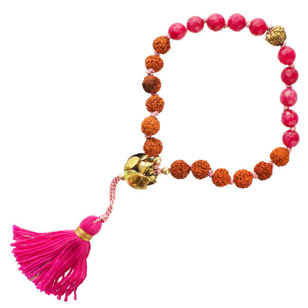 Stone Bracelet with Rudraksha and Strawberry Quartz