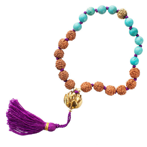 Stone Bracelet with Rudraksha and Turquoise