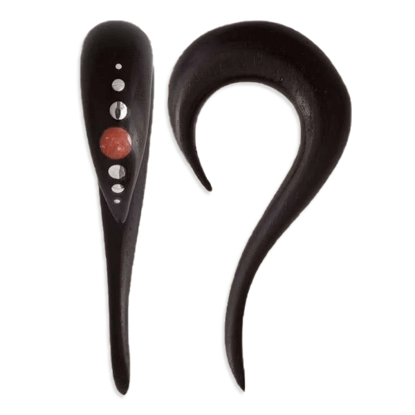 Black Wood Ear Stretcher with set Stone and Silver Dots