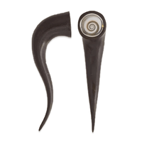 Black Wood Ear Stretchers With Set Shiva Eye