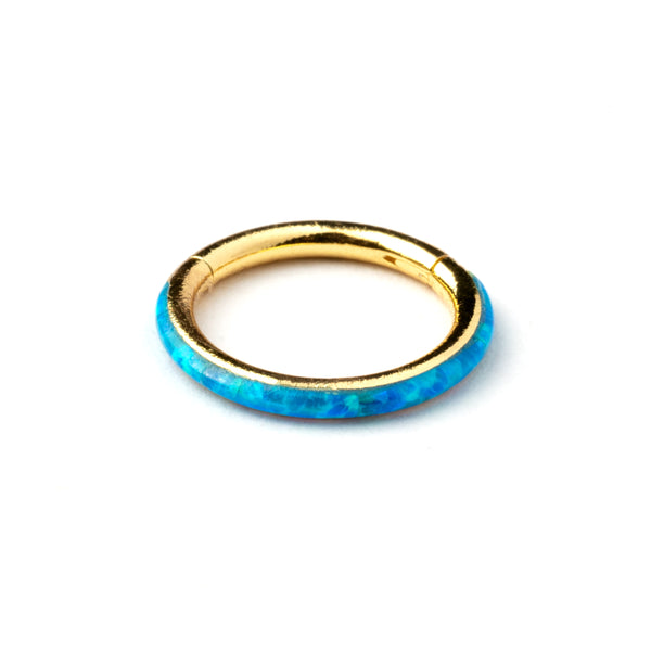 Blue Opal and Gold Hinge Segment Ring Septum