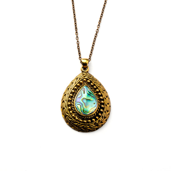 Brass Drop Pendant with Paua shell