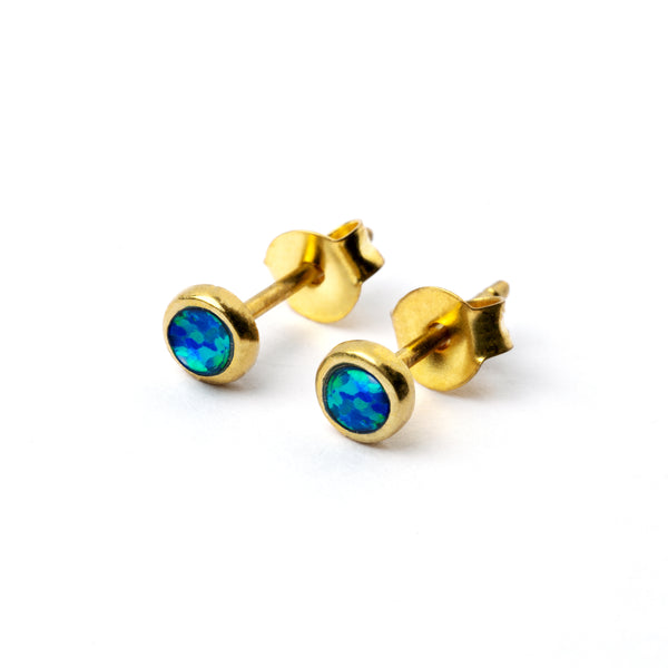 Brass Ear Stud set with blue opal