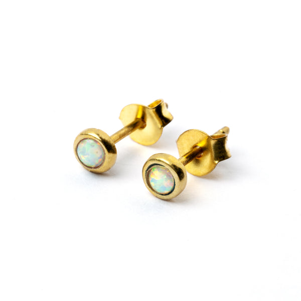 Brass Ear Studs set white Opal