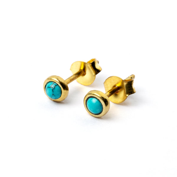 Brass Ear Studs set with turquoise